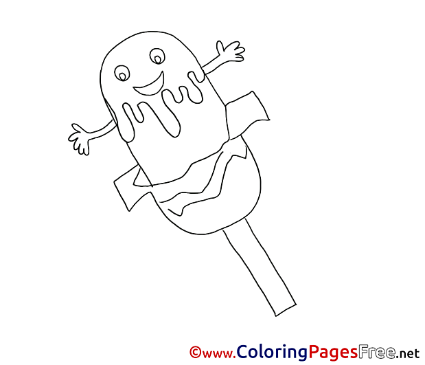 Ice Lolli free Colouring Page download