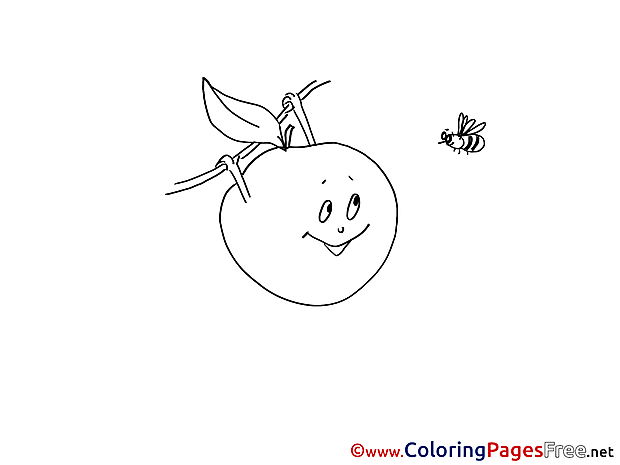 Bee Kids download Apple Coloring Pages