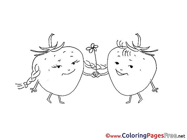Strawberry free printable Coloring Sheets