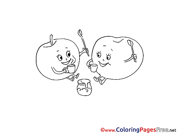 Tea Apples printable Coloring Sheets download