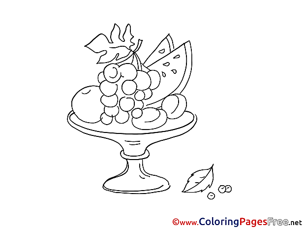 Vase Coloring Pages Fruits for free