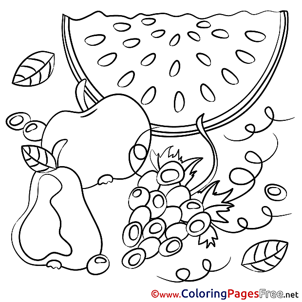 Watermelon Fruits Children Coloring Pages free
