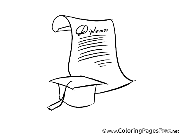 Cap printable Coloring Pages Diploma Graduation