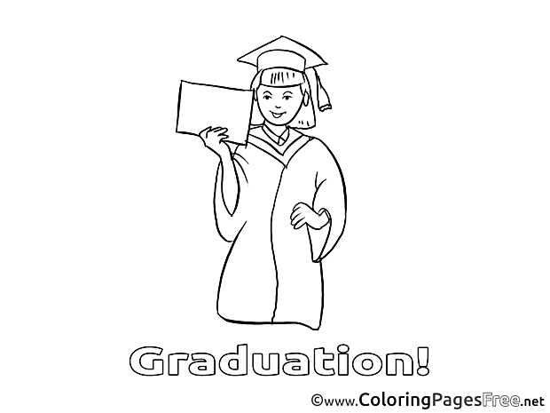 For Kids Graduation Colouring Page