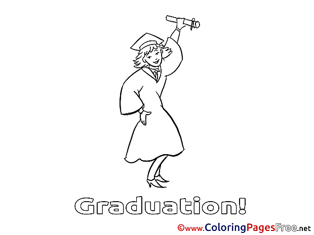 Girl Graduation free Coloring Pages