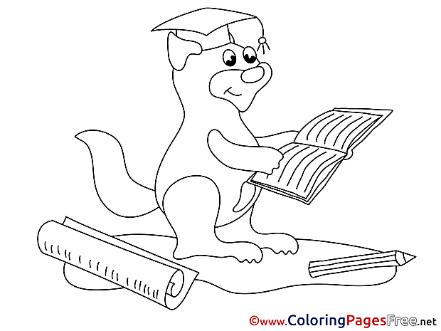 Squirrel Kids Notebook Graduation Coloring Pages