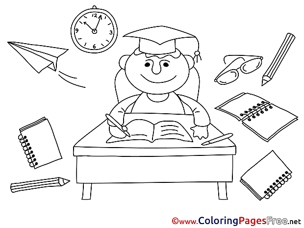 University for Kids Graduation Colouring Page