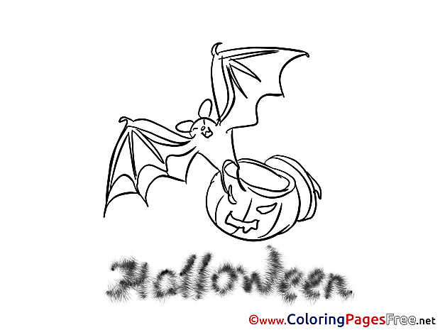 Bat free Colouring Page Halloween