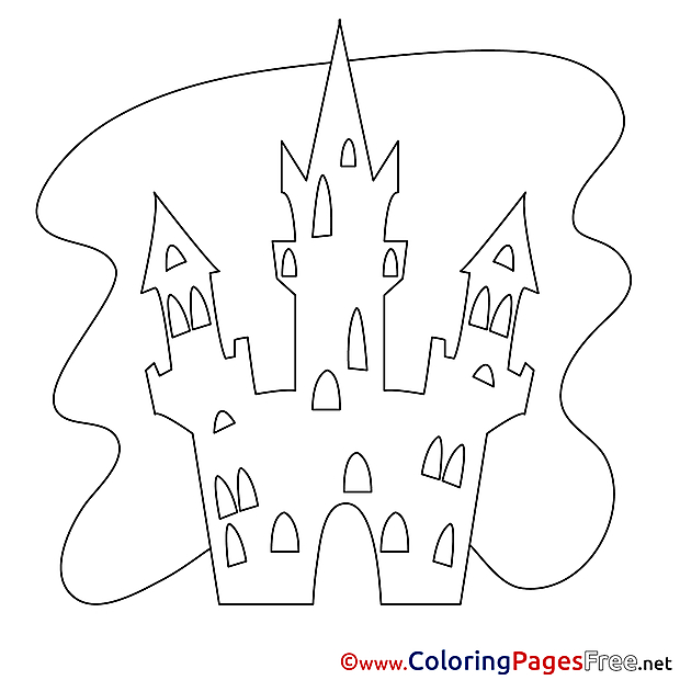 Beautiful Castle free Colouring Page Halloween