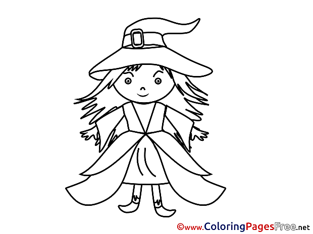Beautiful Witch free Halloween Coloring Sheets