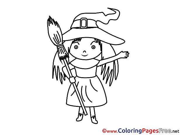 Broom for Kids Halloween Colouring Page