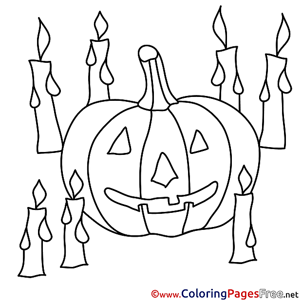 Candles Coloring Pages Pumpking Halloween