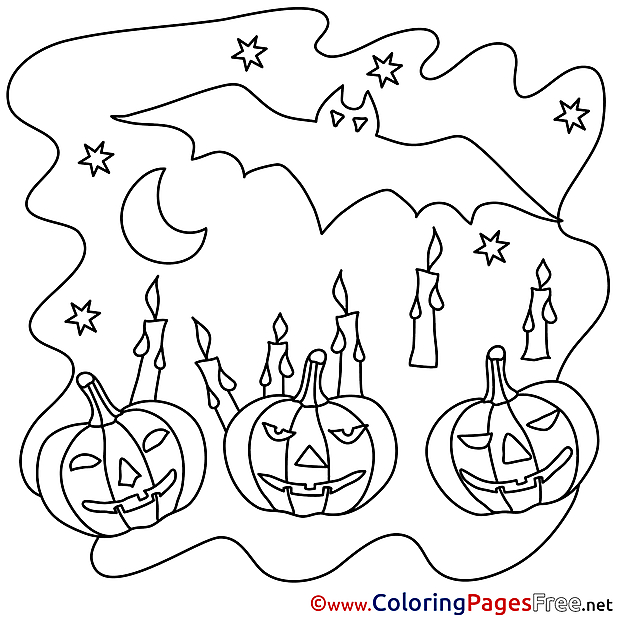 Candles Night printable Coloring Pages Halloween
