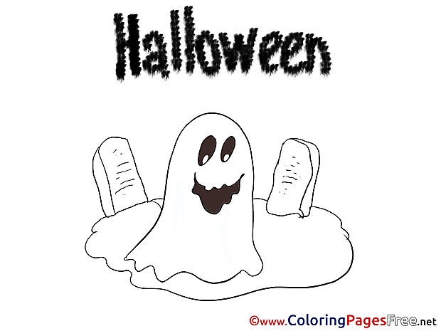 Cemetery Halloween Coloring Pages free
