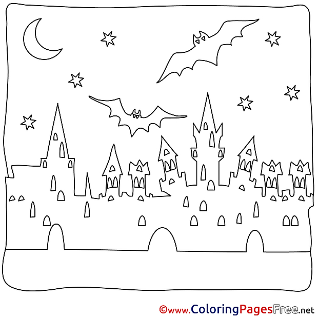 City for Kids Halloween Bat Colouring Page