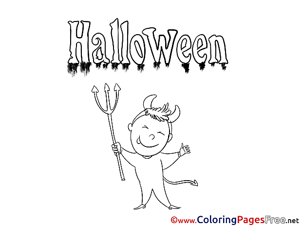 Devil Kids Halloween Coloring Page