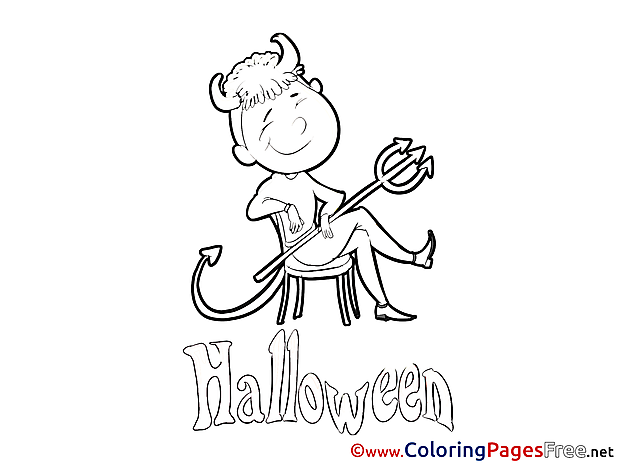 Devil sitting on Chair Halloween Coloring Pages download