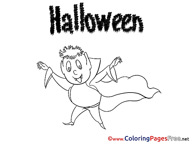 Dracula for Kids Halloween Colouring Page