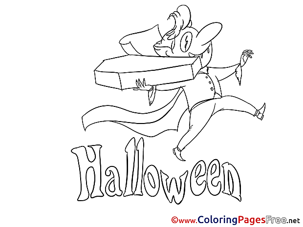 Dracula with Coffin Colouring Page Halloween free