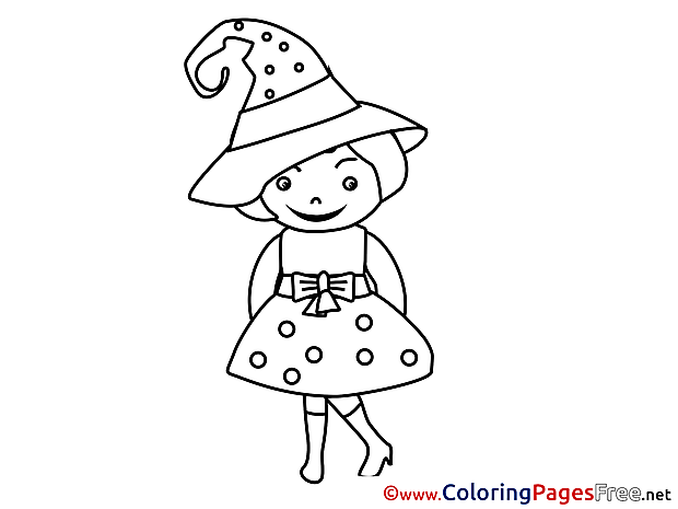 Girl Costume free Halloween Coloring Sheets