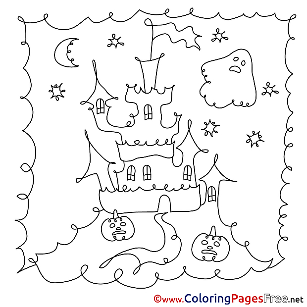 Halloween Castle Colouring Sheet free