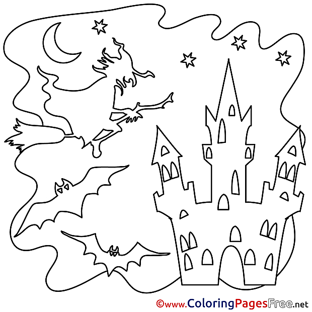 Halloween Coloring Pages download Castle
