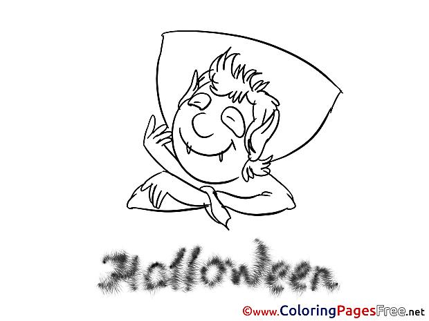 Happy Vampire Kids Halloween Coloring Page