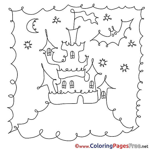 Image free Castle Halloween Coloring Sheets