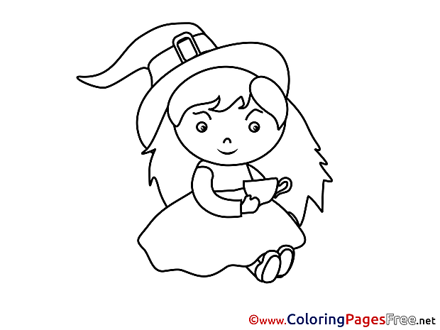 Kids Halloween Sorceress Coloring Pages