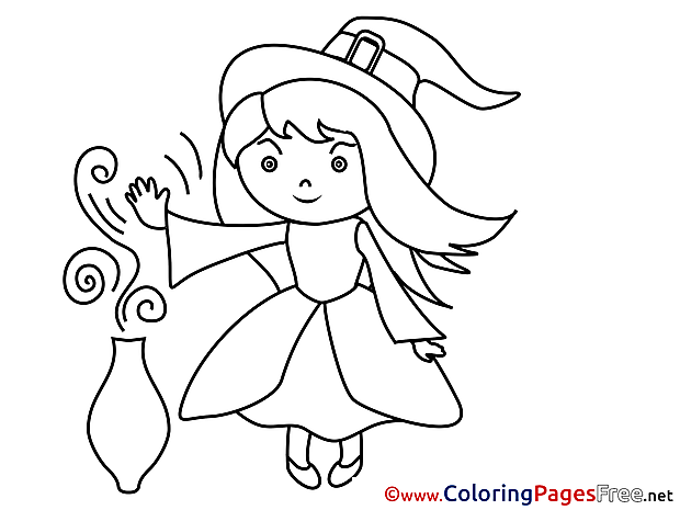 Little Sorceress Colouring Page Halloween free