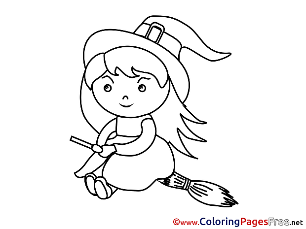 Little Witch Kids Halloween Coloring Pages