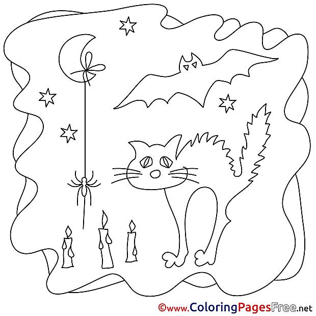 Moon Cat printable Halloween Coloring Sheets