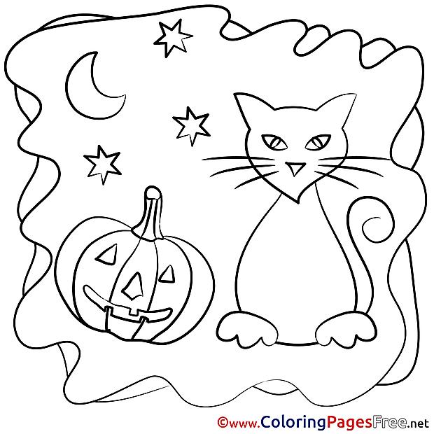 Moon Pumpkin free Colouring Page Halloween