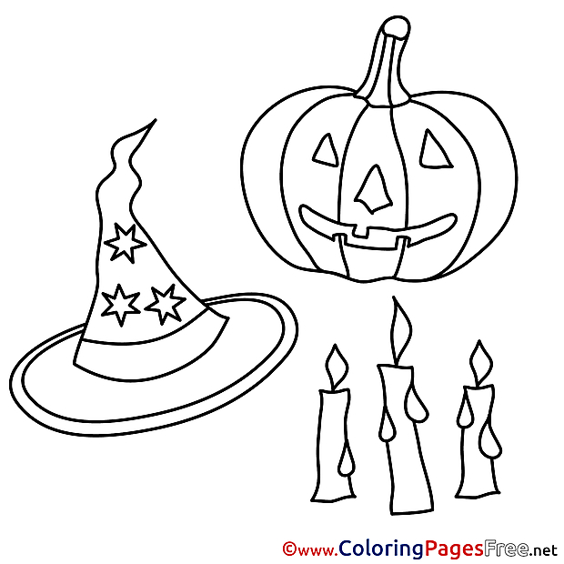 Objects Halloween Coloring Pages free