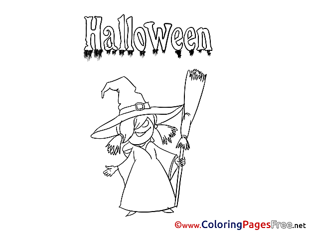 Old Witch Halloween Coloring Pages download