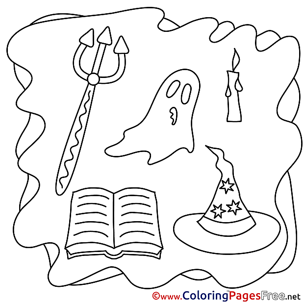 Pitchfork Halloween Coloring Pages download Ghost