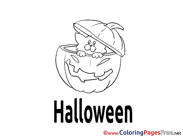 Printable Cat in Pumpkin Coloring Pages Halloween