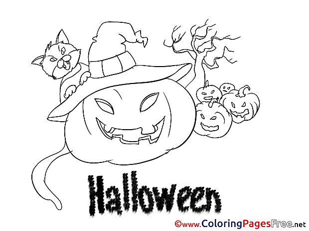 Pumpkin Kids Halloween Coloring Pages