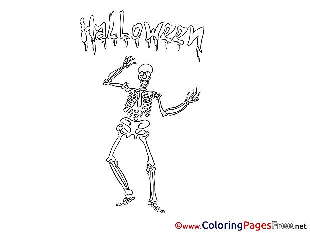 Skeleton free Colouring Page Halloween