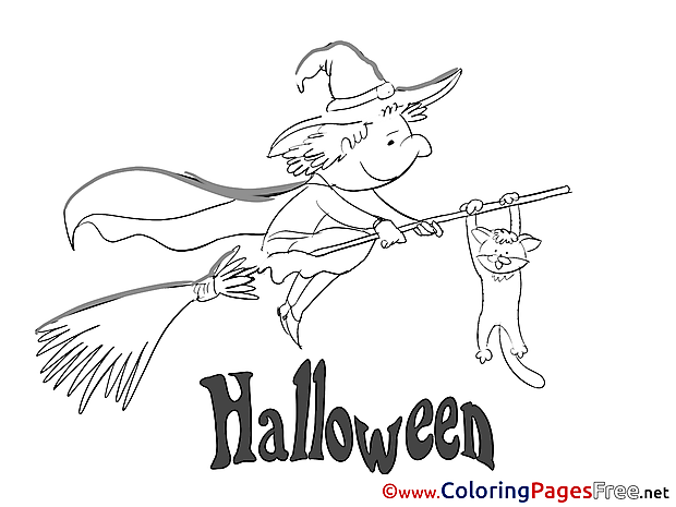 Sorcerer on Broom Colouring Page Halloween free
