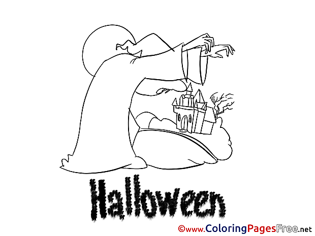Sorceress Children Halloween Colouring Page