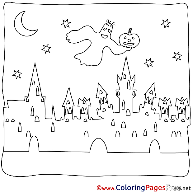 Town printable Coloring Pages Ghost Halloween