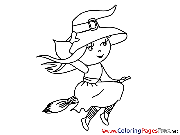 Witch Halloween free Coloring Pages