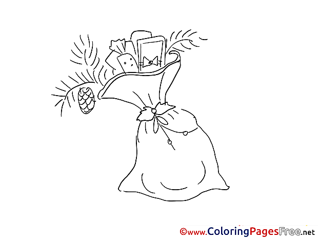 Bag with Presents New Year Coloring Pages free