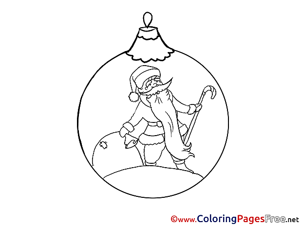Ball Colouring Page Santa Claus New Year free