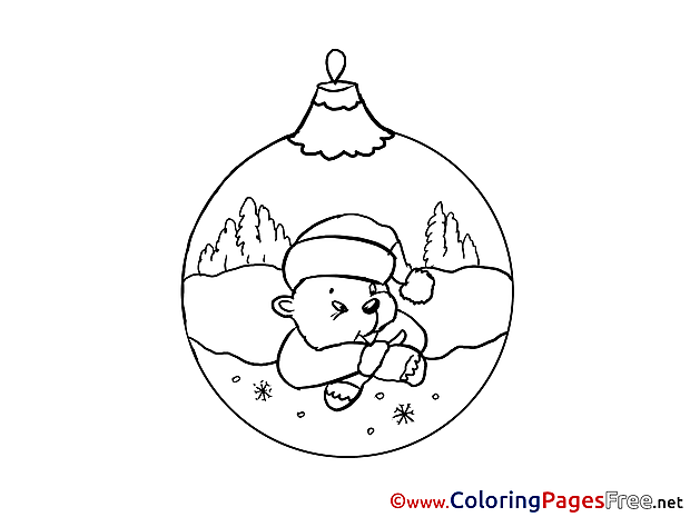 Ball New Year Coloring Pages Bear download