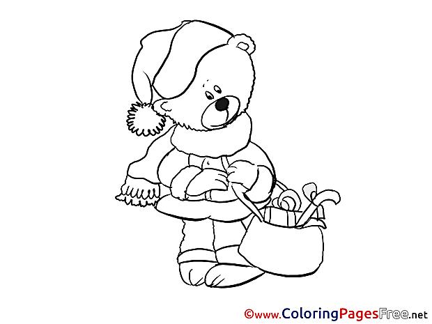 Bear printable New Year Coloring Sheets