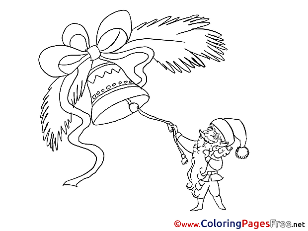 Bell New Year Coloring Pages free