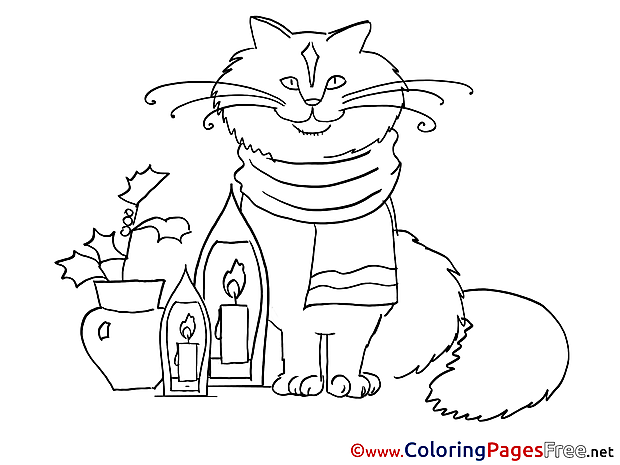 Cat New Year free Coloring Pages