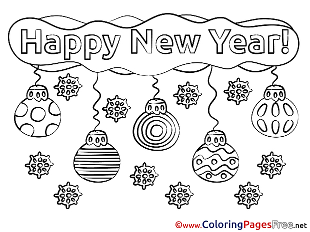 Decoration New Year free Coloring Pages